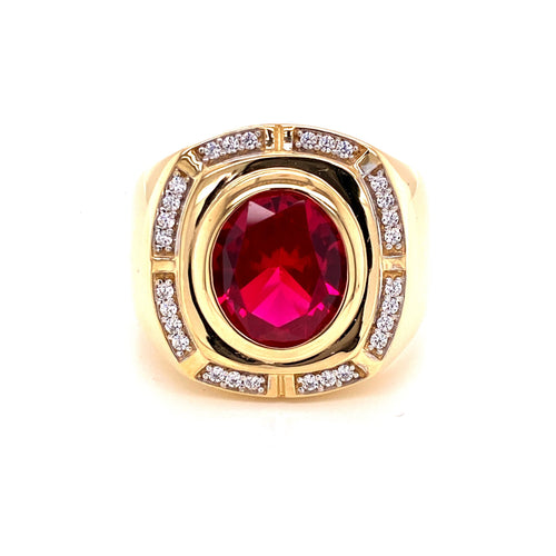 14 Two Tone Ring with Red Stone and Cubic Zirconia On the Edge Size 13 13.8 Grams