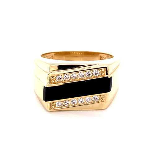 14K Yellow Gold Onyx Ring with Cubic Zirconia Size 11 9.33 Grams