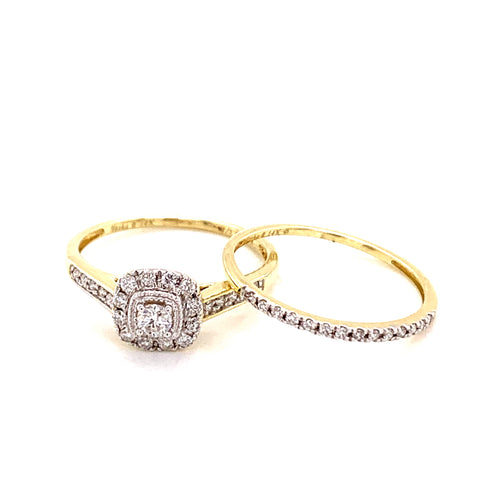 0.33 Ctw 14K Two Tone Ring Wedding Set Size 7 2.95 Grams