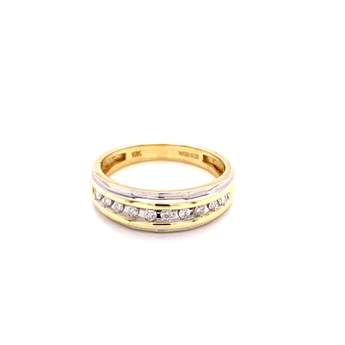 10K Yellow Gold Wedding Ring with Diamonds Size 10 4.51 Grams