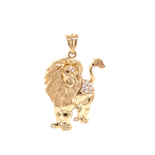 14K Yellow Gold Leo Zodiac Pendant 7.93 Grams