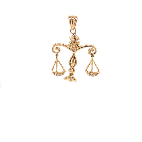 14K Yellow Gold Zodiac Pendant Libra 6.06 Grams