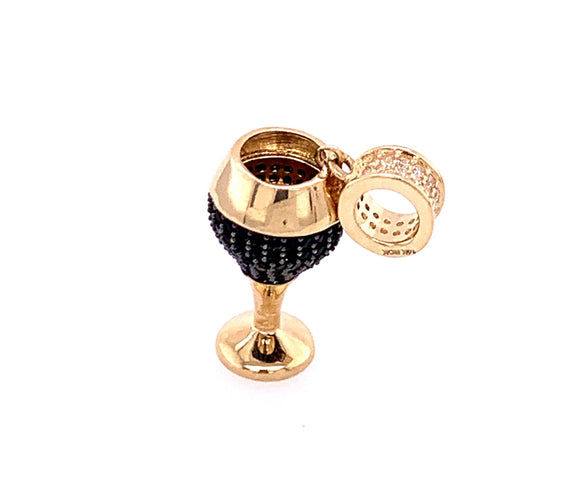 14K Yellow Gold Charm Wine Glass with Black Stones 2.64 Grams