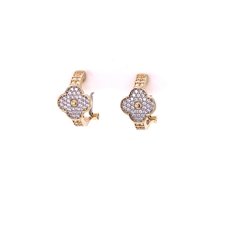 14K Yellow Gold Flower Design Earrings with Cubic Zirconia