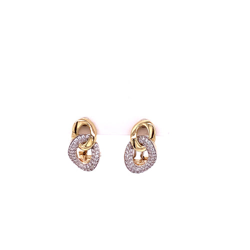 14K Yellow Gold Earrings with Cubic Zirconia 4.67 Grams
