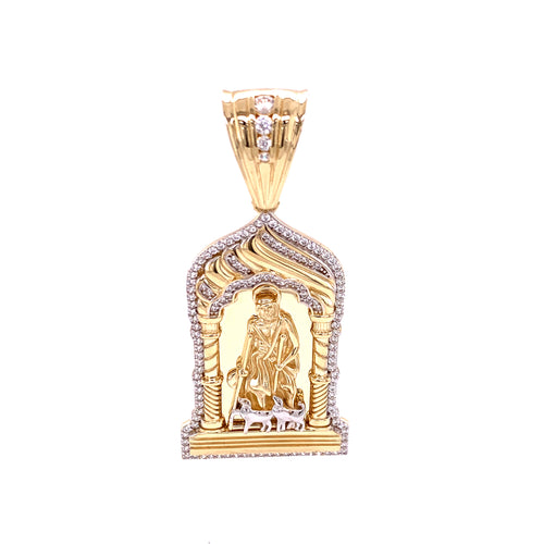 14K Two Tone 3D Saint Lazarus Medal with Cubic Zirconia Border 15.55 Grams