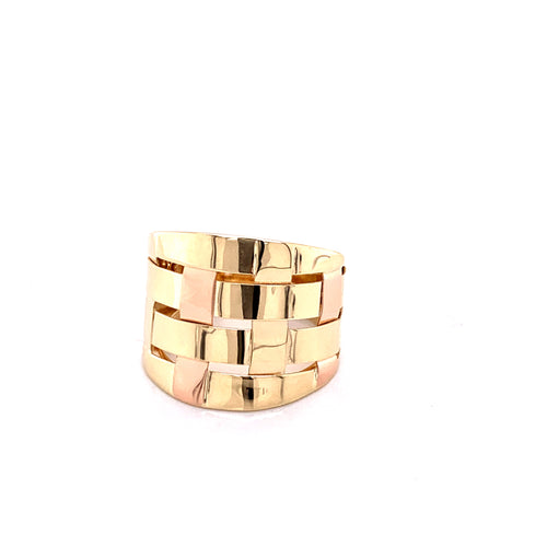 14K Two Tone Dome Square Style Ring Size 8 3.58 grams