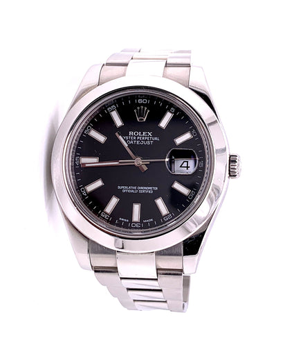 Rolex Datejust Watch Oyster Band Stainless Steel Black Dial with Case Ref 116300