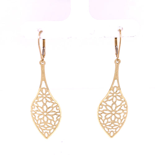 14K Yellow Gold Leaf Style Earring Designed with Lazer 2.79 Grams