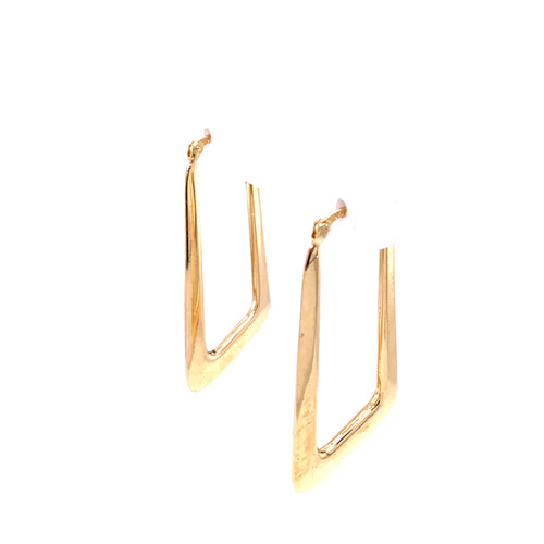 14K Yellow Gold Hoop Style V 2.02 Grams