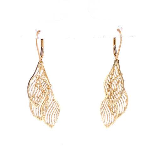 14K Yellow Gold Earrings Leaves Designed with laser 3.26 Grams