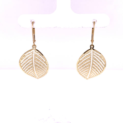 14K Yellow Gold Leaf Style Earrings Designed with Lazer 2.79 Grams