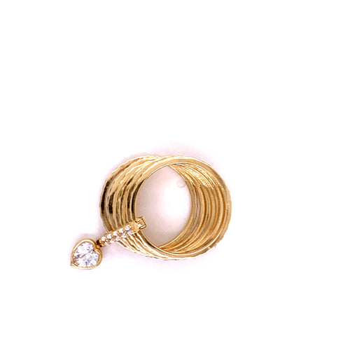 14K Yellow Gold Weekly Style Ring with Heart and Cubic Zirconias Size 6 8.70 Grams