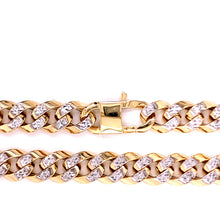 14K Two Tone Hollow Chain Cuban Link Miami 9.5MM 17 Inches 35.14 Grams
