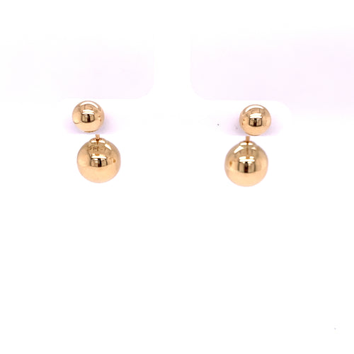 14K Yellow Gold Ball Earring Front and Back