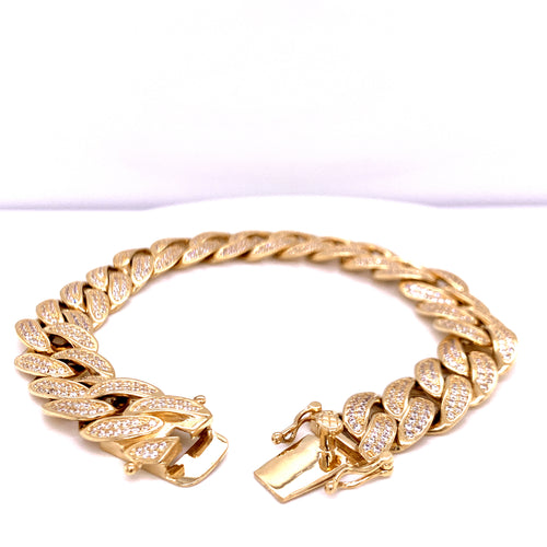 14K Yellow Gold Cuban Handle with Cubic Zirconia 12MM 45.87 Grams