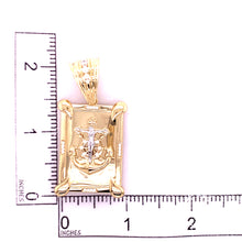 14K Two Tone Pendant with Anchor and Cubic Zirconias 27.06 Grams