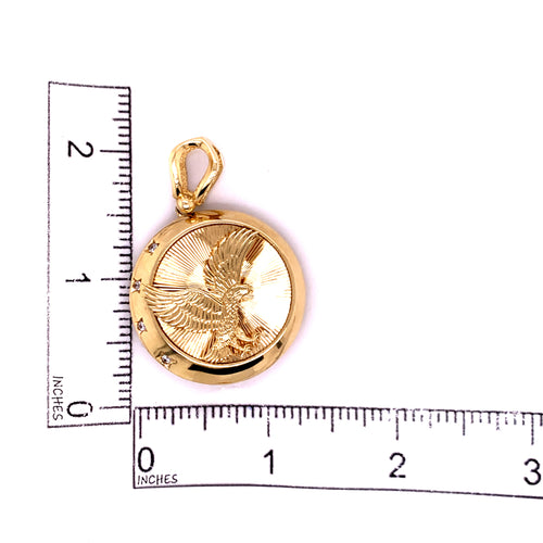 14K Yellow Gold Round Pendant with Eagle 11.51 Grams