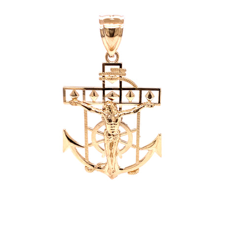 14K Yellow Gold Pendant with Anchor Crucifix 6.06 Grams