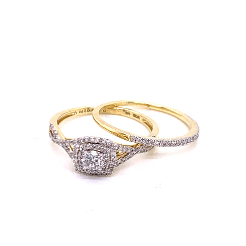 0.50Ctw 14K Two Tone Wedding Rings Size 7
