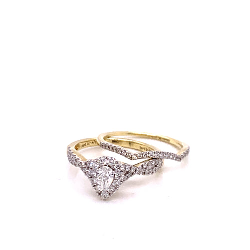 0.75Ctw 14K Two Tone Wedding Rings Size 7