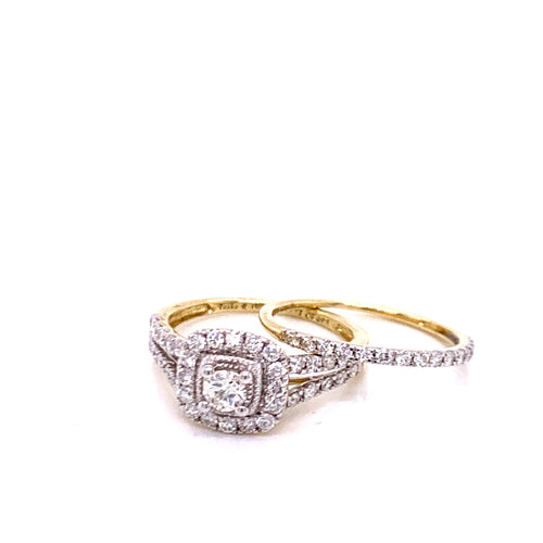 1.0Ctw 14K Two Tone Wedding Rings Size 7