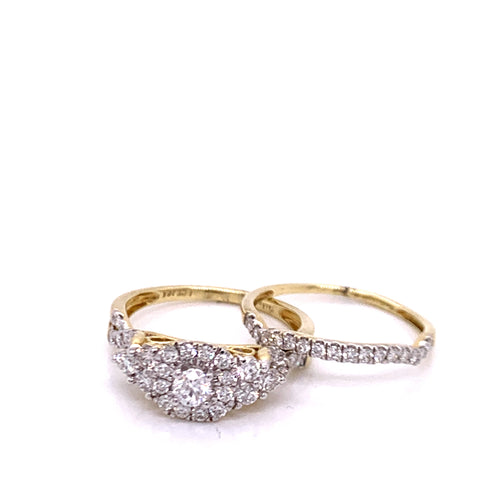 1.0Ctw 14K Two Tone Diamond Wedding Rings Size 7