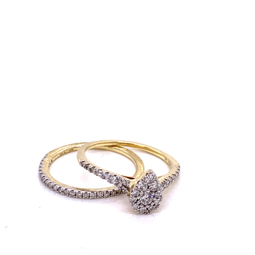 0.58Ctw 14K Two Tone Wedding Rings Size 7