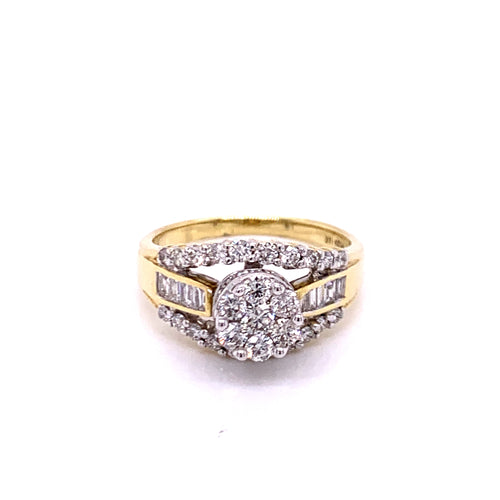 1.0Ctw 14K Two Tone Diamond Engagement Ring Size 7