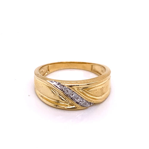 0.08Ctw 10K Channel Style Marriage Band Size 10.25 4.20 Grams