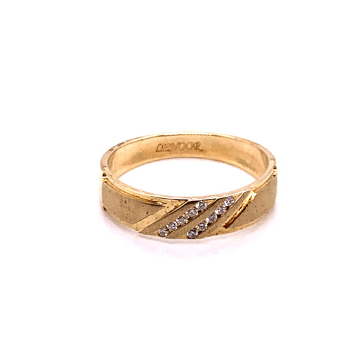 0.10Ctw 14K Yellow Gold Marriage Band Size 10