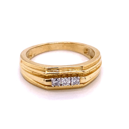 0.15Ctw 10K Marriage Band with 3 Stones Size 10 4.67 Grams