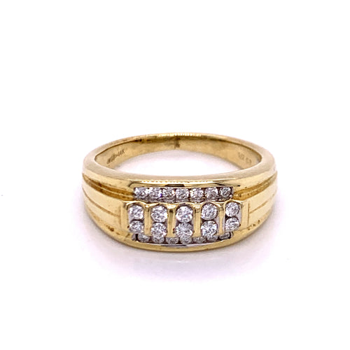 0.50Ctw 14K Two Tone Marriage Band Size 11