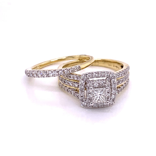 1.51Ctw 14K Two Tone Rings Wedding Set Size 7.5