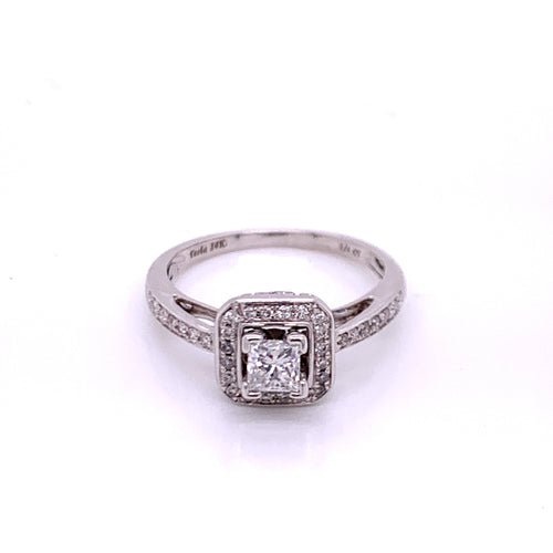0.70Ctw 14K White Gold Diamond Engagement Ring Size 7.5