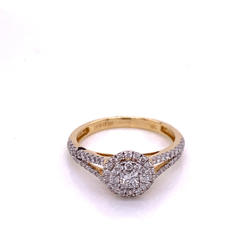 0.64Ctw 14K Two Tone Engagement Ring Size 7.5