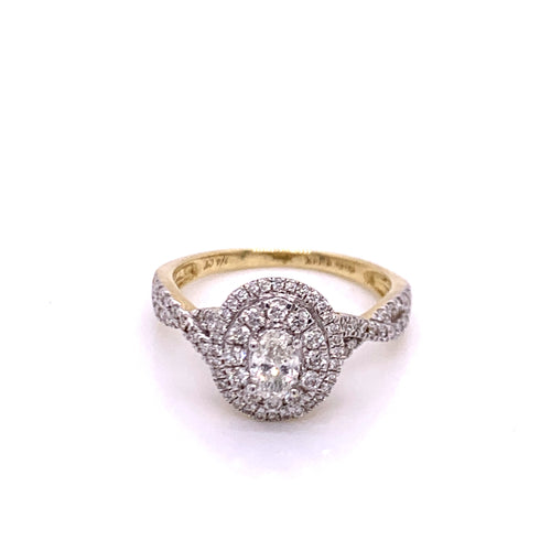0.75Ctw 14K Two Tone Diamond Engagement Ring Size 7.5