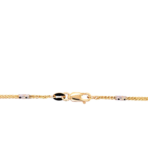 14K Two Tone Chain with Loose Link 1.5mm 16 Inches 3.42 Grams