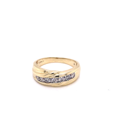 0.50Ctw 10K Two Tone Marriage Band Size 10