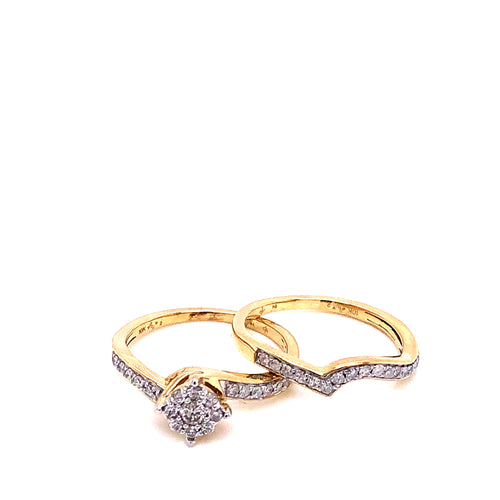 0.50Ctw 10K Two Tone Wedding Rings Size 7