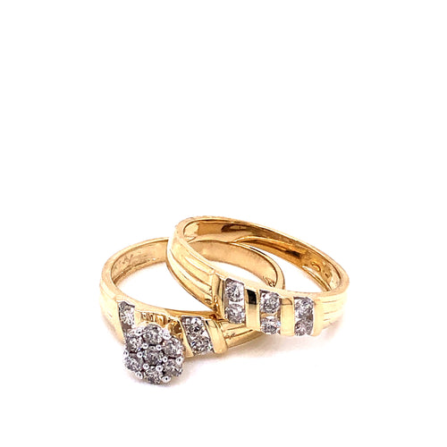 0.65Ctw 10K Two Tone Wedding Rings Size 7