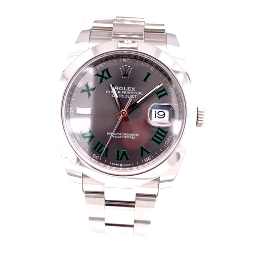 Rolex Datejust II Oystersteel 41mm Wimbledon Dial REF 126300 85.9Dwt 11 Links with Box and Open Card 2018