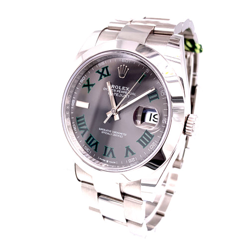 Rolex Datejust II Oystersteel 41Mm Wimbledon Dial REF 126300 85.9Dwt 11 Links Comes With Box Open Card 2018