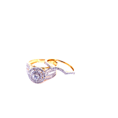 0.75Ctw 14K Two Tone Diamond Wedding Rings Size 7 4.20 Grams