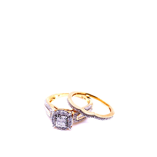 10K Two Tone Diamond Engagement Rings 0.33CTW Size 7
