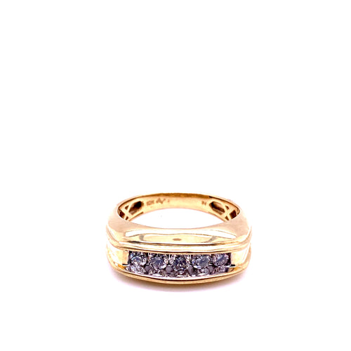 0.50Ctw 10K Yellow Gold Wedding Band with Diamonds Size 10 5.60 Grams