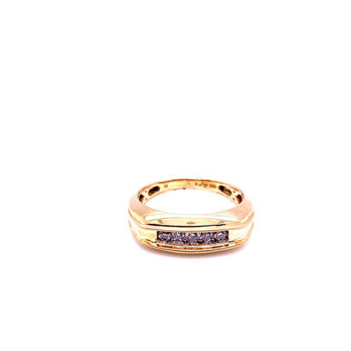 0.25Ctw 10K Yellow Gold Wedding Band with Diamonds Size 10 3.73 Grams