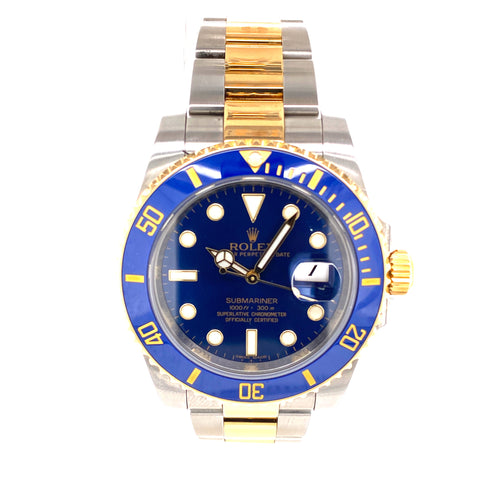 Rolex Submariner 18K Two Tone Ref: 116613 109.2Dwt with Box, Card and Warranty