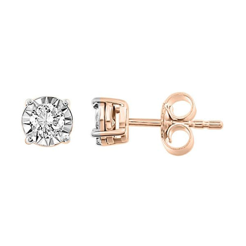 10K Rose Gold Round Diamond Earring 1 / 4CTW