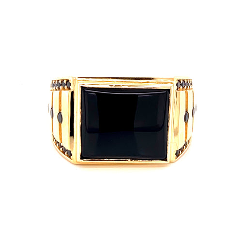 14K Yellow Gold Ring with Black Stones Size 11 8.55 Grams